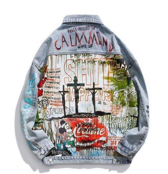画像1:   Men's Calmmind paint graffiti men and womencouple denim jacket coat メンズ ユニセックス男女兼用グラフィックデニムジャケット コート (1)