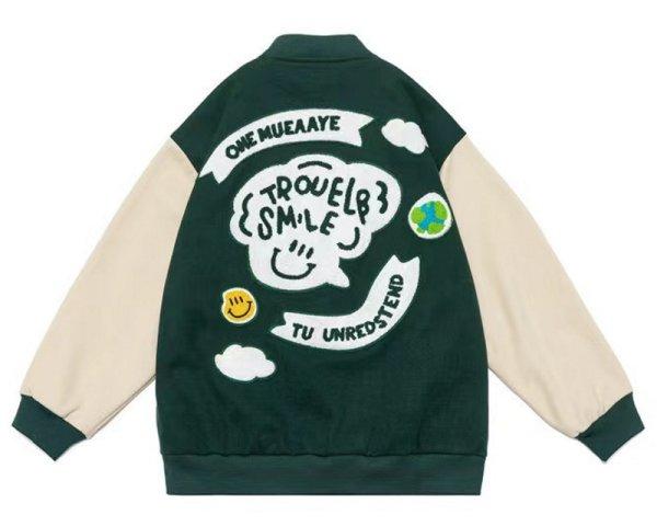 画像1: Smile emblem leather sleeve BASEBALL JACKET baseball uniform jacket blouson  ユニセックス 男女兼スマイルエンブレム レザースリーブ ヒップホップ スタジアムジャンパー スタジャン MA-1 ボンバー ジャケット ブルゾン (1)