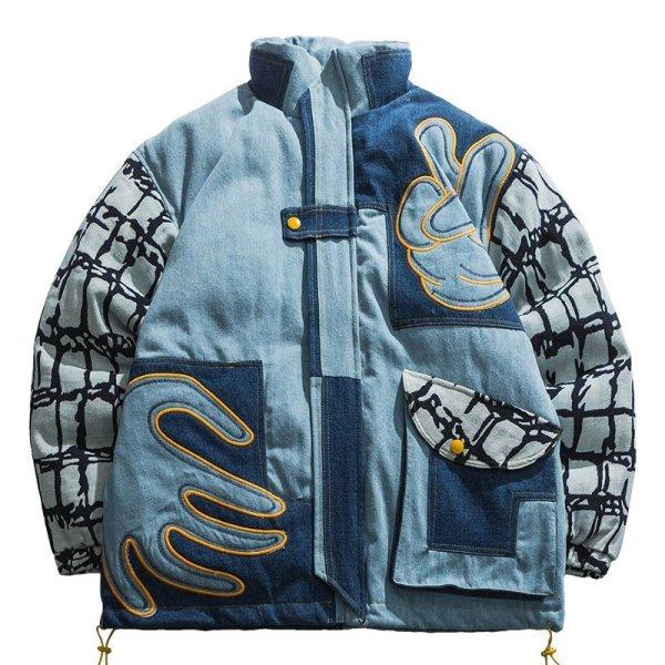 画像1: Unisexs Patchwork Stand Collar Cotton Jacket Down jacket ユニセックス 男女兼用 パッチワークデニムダウンジャケット ジャンバー ブルゾン スタジャン (1)