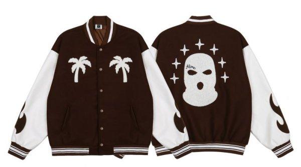 画像1: masked flockingPU leather sleeve  BASEBALL JACKET baseball uniform jacket blouson  ユニセックス 男女兼 用  マスク エンブレム レザースリーブ ヒップホップ スタジアムジャンパー スタジャン MA-1 ボンバー ジャケット ブルゾン (1)