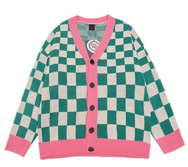 画像1: Unisex Damier lattice check V-neck cardigan sweater 男女兼用 ユニセックス ダミエ チェック柄 Vネックカーディガン セーター  (1)