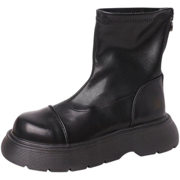 画像1:  women's Chunky sole short leather boots Martin boots レザーチャンキーソールブーツ  マーティンブーツ (1)