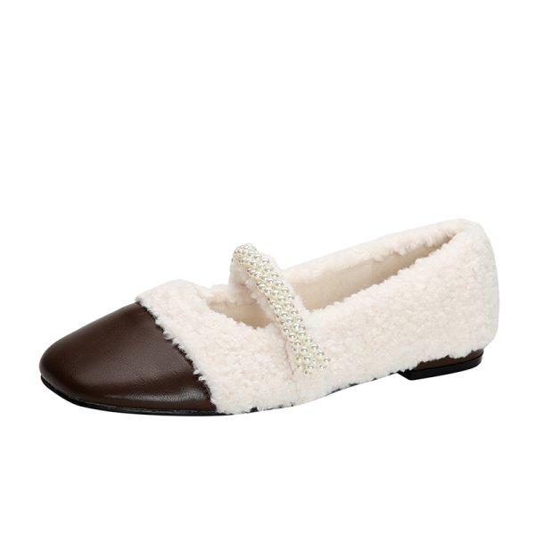 画像1: women's Lamb fur & pearl strap flat pumps  ファー&パールストラップ フラットパンプス シューズ  (1)