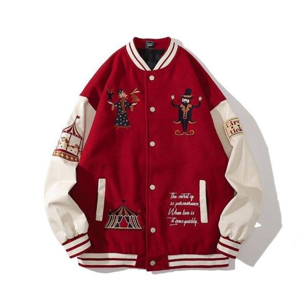 画像1: Circus embroidery BASEBALL JACKET baseball uniform jacket blouson  ユニセックス 男女兼用サーカス団刺繍 エンブレム  ヒップホップ スタジアムジャンパー スタジャン MA-1 ボンバー ジャケット ブルゾン (1)