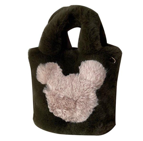 画像1: Mickey Mouse Fur Tote Shoulder Bag ミッキーマウス ミッキーファートートショルダーバッグ (1)