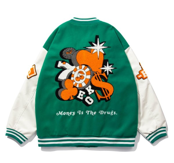 画像1: Casino game embroideryBASEBALL JACKET baseball uniform jacket blouson  ユニセックス 男女兼用 カジノ ゲーム 刺繍 エンブレム  ヒップホップ スタジアムジャンパー スタジャン MA-1 ボンバー ジャケット ブルゾン (1)