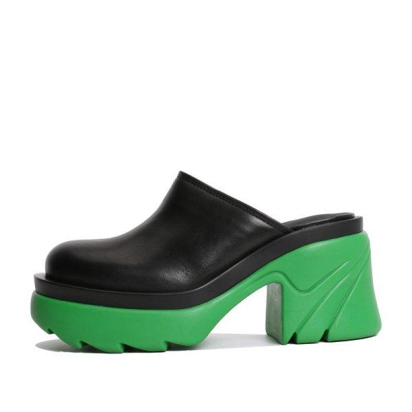 画像1: Baotou half-drag jelly color thick heel waterproof platform leather high-heeled shoes 包頭ハーフドラッグゼリーカラー厚底レザーハイヒールシューズ サンダル スリッパ (1)