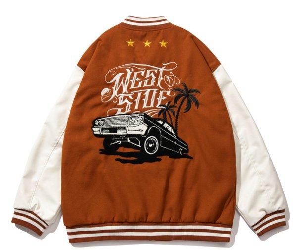 画像1: Westside classic car BASEBALL JACKET baseball uniform jacket blouson  ユニセックス 男女兼用 ウエストサイドクラシックカー刺繍 エンブレム  ヒップホップ スタジアムジャンパー スタジャン MA-1 ボンバー ジャケット ブルゾン (1)