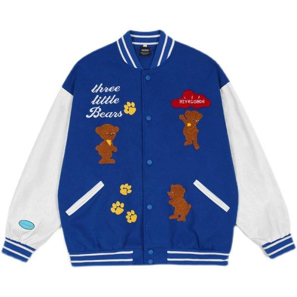 画像1: Feel lonely BASEBALL JACKET baseball uniform jacket blouson  ユニセックス 男女兼用 ベア熊ベイビー 刺繍 エンブレム  ヒップホップ スタジアムジャンパー スタジャン MA-1 ボンバー ジャケット ブルゾン (1)