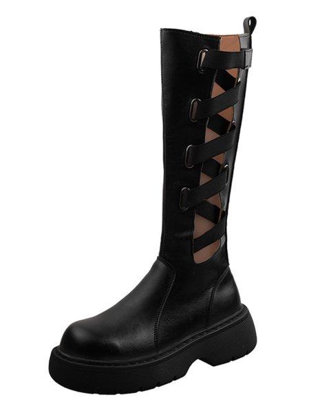 画像1:  women's lace-up elastic band thick-soled boots Martin boots レザーエラスティックベルト ブーツ マーティンブーツ (1)