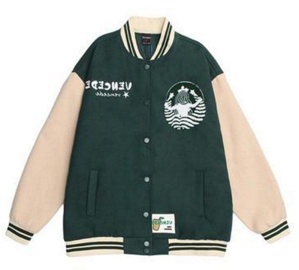 画像1: hit color BASEBALL JACKET baseball uniform jacket blouson  ユニセックス 男女兼用 ヒットカラー刺繍 エンブレム  ヒップホップ スタジアムジャンパー スタジャン MA-1 ボンバー ジャケット ブルゾン (1)