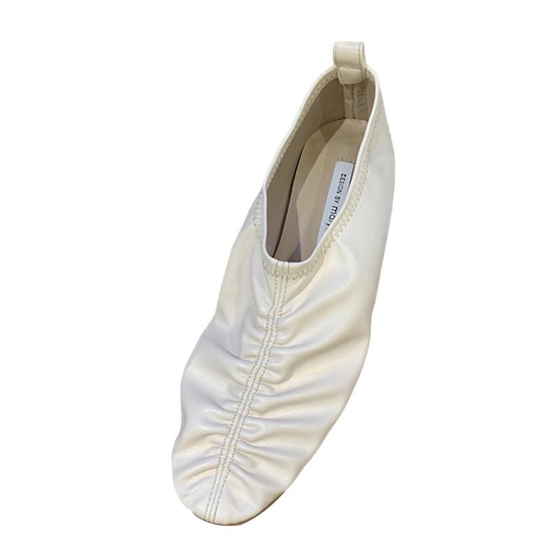 women's soft leather foot flat beanie